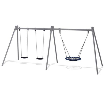 Steel 2.5m In ground Double Swing plus Nest Swing 100cm product image 1